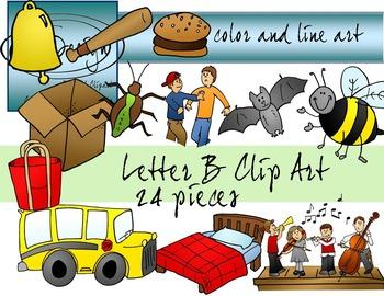 Letter B Clip Art - Color and Line Art 24 pc set