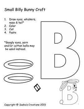 Letter B Craft: Billy Bunny Alpha Pal