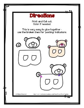 Letter B Craftivity - Bear - Zoo Phonics Inspired - Color & BW Versions