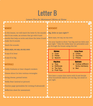 Letter B Lesson Plan for Mel's Montessori Moms at Home- Includes Playmat