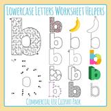 Letter B (Lowercase) Worksheet Helper Clip Art Set For Commercial Use