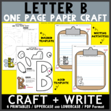 Letter B One Page Paper Crafts - Bear and Bee