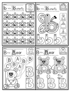 Pre Kg Alphabet Worksheets Letter Bb Printables Tracing