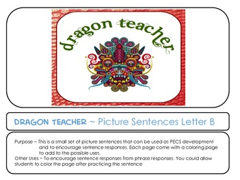 Letter B Picture Sentences for PECS or Early Readers