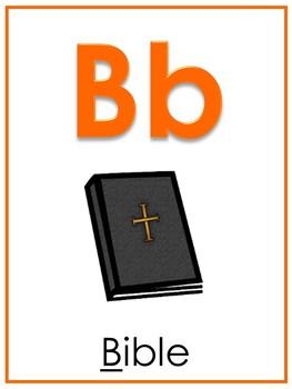 Letter B Printable Bible Alphabet Poster. Preschool-Kindergarten Phonics.