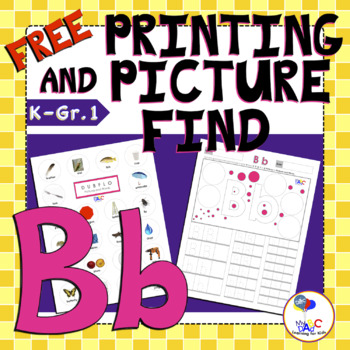 Letter B Printing and Picture Find Printables | myABCdad Learning for Kids