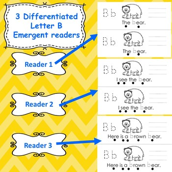 Letter B activities (emergent readers, word work worksheets, centers)