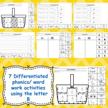 Letter B activities (emergent readers, word work worksheets, centers)