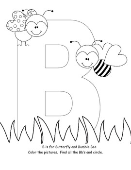 Letter B interactive coloring book