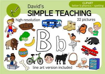 Letter B phonics - spelling clipart with free preview