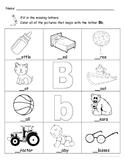 Letter Bb Words Coloring Worksheet
