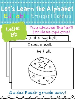 Letter Bb *Editable* Alphabet Emergent Reader