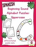Letter Recognition: Uppercase Initial Sound Puzzles (Spanish)