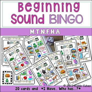 Beginning Sounds -BINGO -letters M,T,N,F,H and A