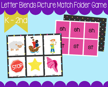 Letter Blend Picture Match Reading Game Digraph Kindergarten 1st 2nd