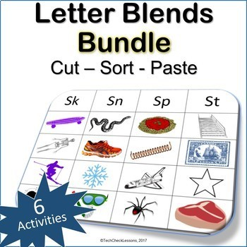 6 Letter Blends Cut Sort and Paste BUNDLE - Reading LA Grades K-3