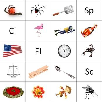Letter Blends Cut Sort and Paste Reading (Cl, Fl, Sc, Sp) LA Grades K-3