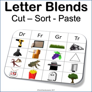 Letter Blends Cut Sort and Paste Reading (Dr, Fr, Gr, Tr) LA Grades K-3