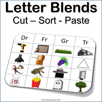 Letter Blends Cut Sort and Paste Reading (Dr, Fr, Gr, Tr) LA Grades K-3