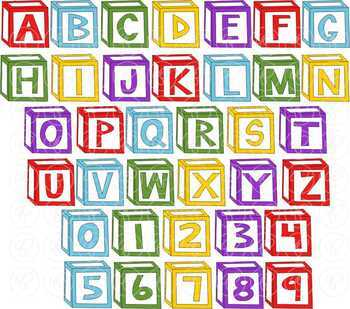 Letter Blocks Alphabet and Number Clipart by Poppydreamz