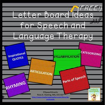 Letter Board Ideas for Speech/Language Therapy {FREE} by ...