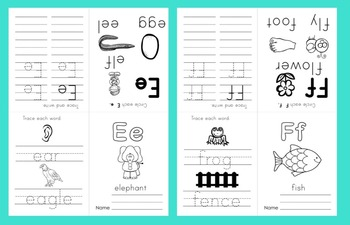 Alphabet Booklets:  26 Foldable Letter Booklets Set 2 - NO PREP! Print & Go!