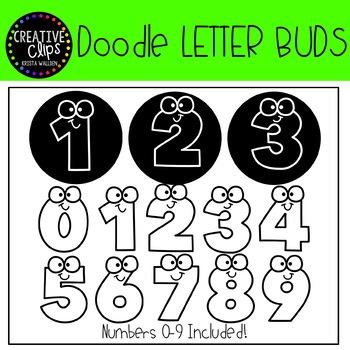 Letter Buds Doodle FONT {Creative Clips Clipart}