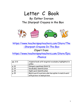 Letter C Adapted Book and Activities