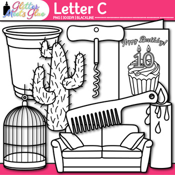 Letter C Alphabet Clip Art {Teach Phonics, Recognition, and Identification} B&W
