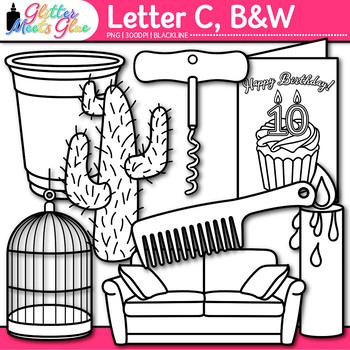 Letter C Alphabet Clip Art | Teach Phonics, Recognition, & Identification | B&W