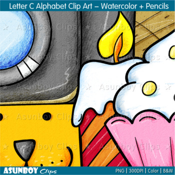 Letter C  Alphabet Clip Art - Watercolor + Colored Pencils