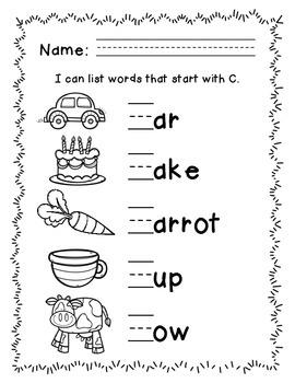 Letter C Alphabet Packet