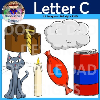 Letter C Clip Art (Cloud, Cake, Cat, Candy, Can, Candle)