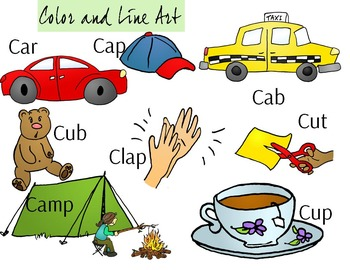 Letter C Clip Art - Color and Line Art 16 pc set
