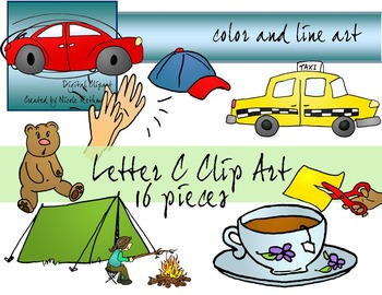 Letter C Clip Art - Color and Line Art 16 pc set