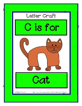 Letter C Craftivity - Cat - Zoo Phonics Inspired - Color & BW Versions