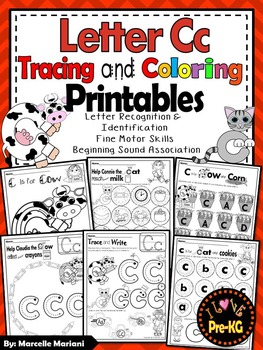 Pre-KG Alphabet Worksheets- LETTER Cc Printables- Tracing, coloring, recognition