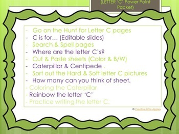 PreK and Kindergarten: Letter C Packet