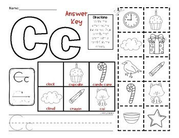 letter c picture sort initial sound by miss zees activities tpt. Black Bedroom Furniture Sets. Home Design Ideas
