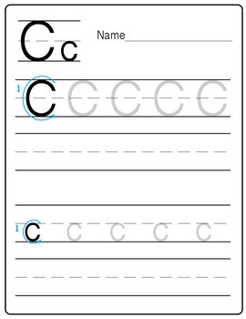 "A Freebie Practice Handwriting Worksheet - ""Letter C"" {Messare Clips and Design}"