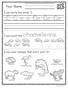 Letter C Practice Page -- Zoo Wild Morning Work -- Wildlife Homeschool