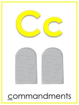 Letter C Printable Bible Alphabet Poster. Preschool-Kindergarten Phonics.