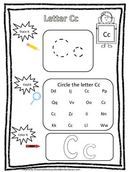 "Letter ""C"" Trace it, Find it, Color it.  Preschool printable worksheet. Daycare."