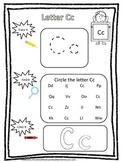 "Letter ""C"" Trace it, Find it, Color it.  Preschool printable worksheet. Daycare."