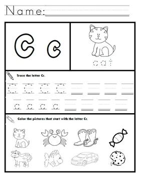 letter c worksheets by kindergarten swag teachers pay teachers. Black Bedroom Furniture Sets. Home Design Ideas