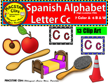 Letter C c Spanish Alphabet Clip Art   Letra Cc  Personal and Commercial Use