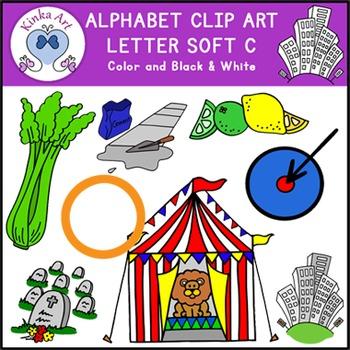 Letter C {soft sound} Clip Art: Beginning Sounds Alphabet