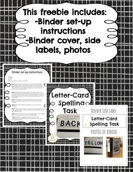 Spelling Task Activity-- Binder set-up instructions and templates!!