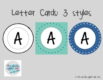 Letter Cards: 3 versions (A-Z)