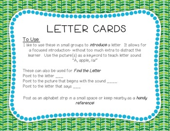 Letter Cards: Blue and Green Spotty